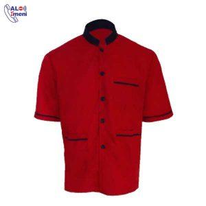 لباس کار رستورانی آستین کوتاه قرمز